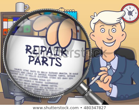 Repair Parts through Magnifying Glass. Doodle Concept. Stock photo © tashatuvango