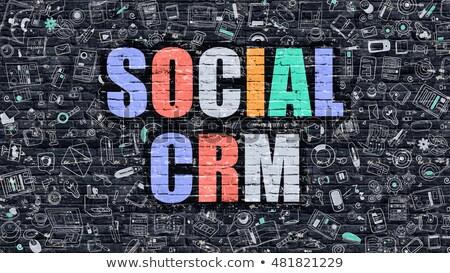 Social CRM Concept. Multicolor on Dark Brickwall. Stock photo © tashatuvango