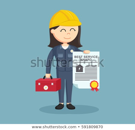 Desenho animado mulher eletricista chave de fenda handyman Foto stock © Krisdog