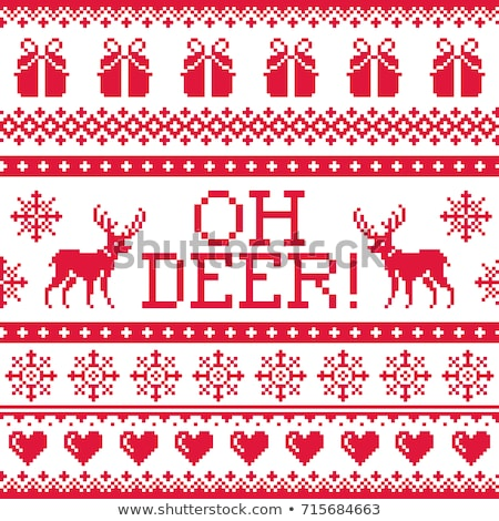 Oh deer red pattern, Christmas seamless design, winter background Stock photo © RedKoala