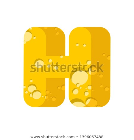 Letter H cheese font. Symbol of cheesy alphabet. Dairy Food type Stock photo © popaukropa
