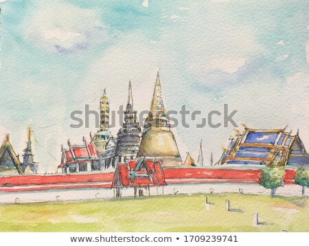 thai art painting on paper in the grand palace bangkok thailan stock photo © rufous