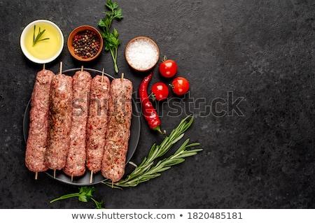 Nyers kebab zöldségek tányér asztal étel Stock fotó © tycoon