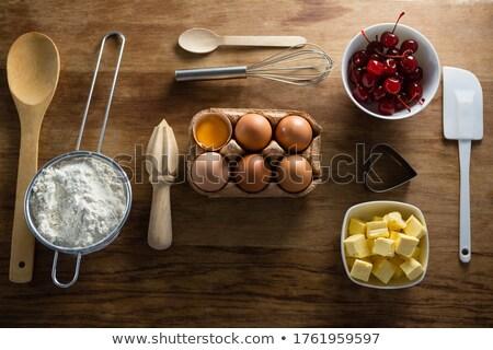 卵 バター キューブ チェリー 木製のテーブル ストックフォト © wavebreak_media