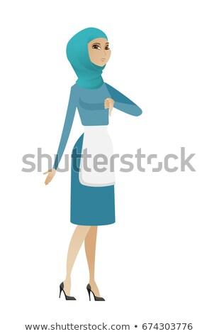 Decepcionado jóvenes musulmanes limpia pulgar abajo Foto stock © RAStudio