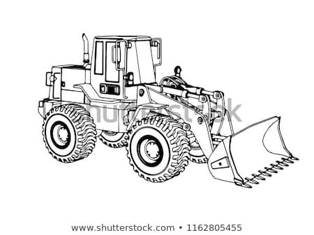 Buldozer schiţă icoană vector izolat Imagine de stoc © RAStudio