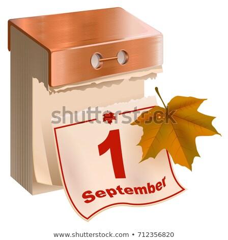 Automne calendrier jaune feuille d'érable isolé blanche Photo stock © orensila