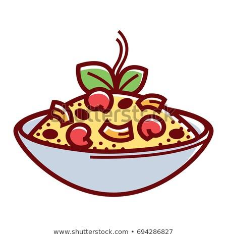 plate full of food on white vector illustration stock photo © robuart