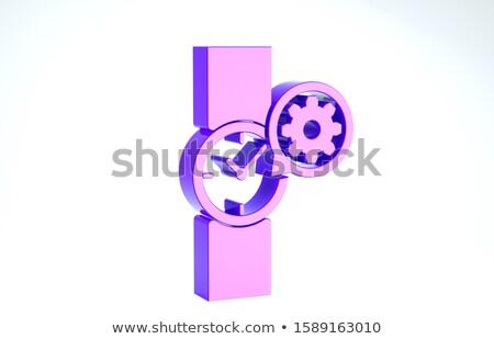 Gouden versnellingen onderhoud tijd 3d illustration mechanisme Stockfoto © tashatuvango