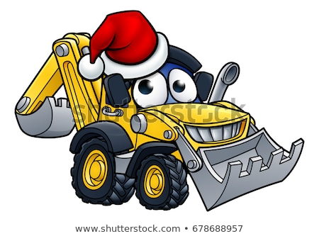 Cartoon christmas bulldozer bouw voertuig cartoon mascotte Stockfoto © Krisdog