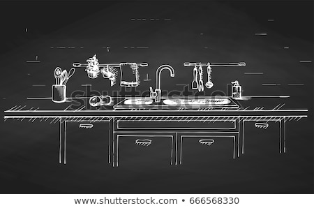 Kitchen sink. Kitchen worktop with sink and drawn on a chalkboard.. The sketch of the kitchen Stock photo © Arkadivna