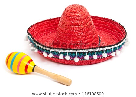 Mexican hat and maracas on white background Stock photo © bluering