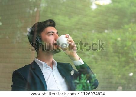 Stockfoto: Koffiepauze · buiten · kantoor · business · vrouw · voedsel