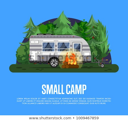Road life poster with van and camping trailer Stock photo © studioworkstock