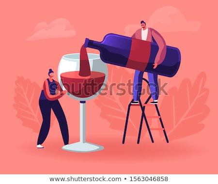 Homem vinho retrato silhueta copo de vinho Foto stock © IS2