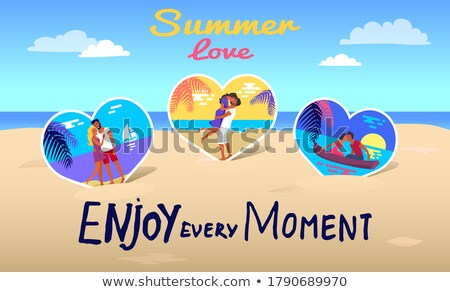 Summer Love Banner with Kissing Couple in Boat Stock photo © robuart