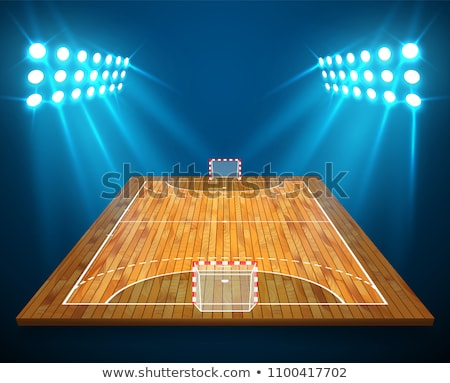 Perspective vector illustration of handball field, cort. Vector EPS 10. Room for copy Stock photo © olehsvetiukha
