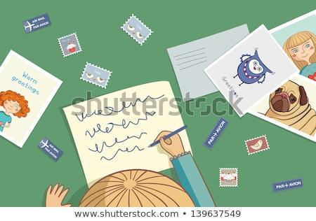 Kid Girl Write Postcards Stock photo © lenm