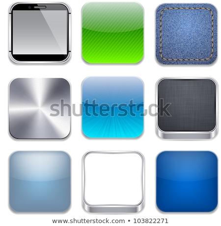 Blauw · app · icon · sjabloon · metaal · textuur · metaal - stockfoto © molaruso
