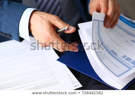 Seguro papel azul bola ponto caneta Foto stock © luapvision