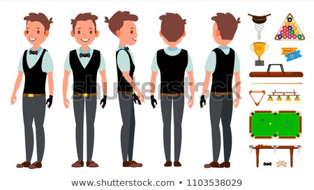 Snooker Man Player Male Vector. Billiard. Garment Accessory. People Playing. Cartoon Athlete Charact Stock photo © pikepicture