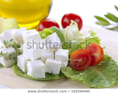 Cubes of feta cheese with olives Stock photo © Melnyk