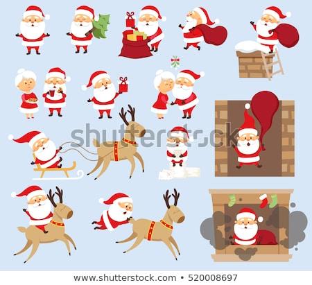 alegre · natal · papai · noel · chaminé · noite · vetor - foto stock © studiostoks
