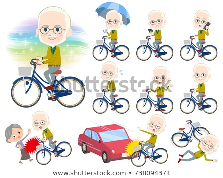 Yellow Ocher knit old man White_city bicycle Stock photo © toyotoyo