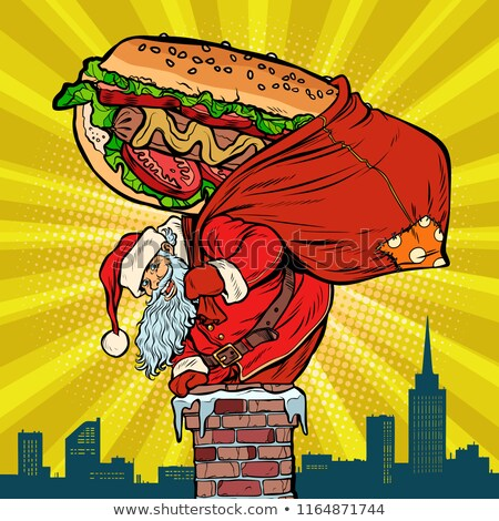Santa Claus with a hot dog climbs the chimney. Food delivery Stock photo © studiostoks