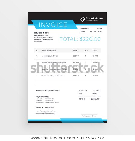 geometric style invoice template design in blue shade Stock photo © SArts
