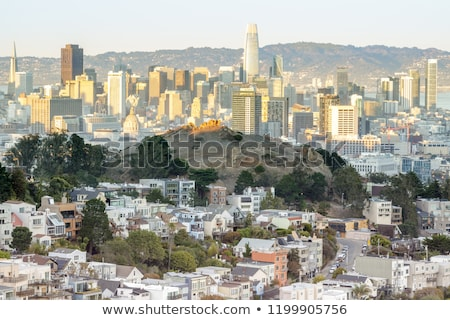 Pôr do sol San Francisco tanque colina vale gêmeo Foto stock © yhelfman