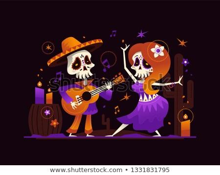 mexicano · jogar · guitarra · deserto · cena · música - foto stock © decorwithme