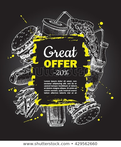 Fast food menu schets schets gerechten kip Stockfoto © robuart
