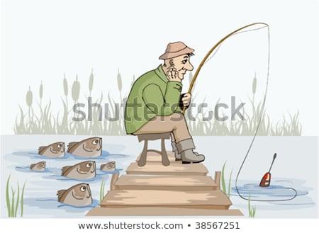 Cartoon rybaka nudzić ilustracja patrząc ryb Zdjęcia stock © cthoman