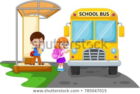 дети · ждет · школьный · автобус · девушки · школы · счастливым - Сток-фото © artisticco