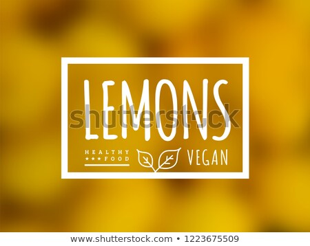 Lemon background and label on it. Environmentally friendly product good for health. Vector Stock photo © m_pavlov