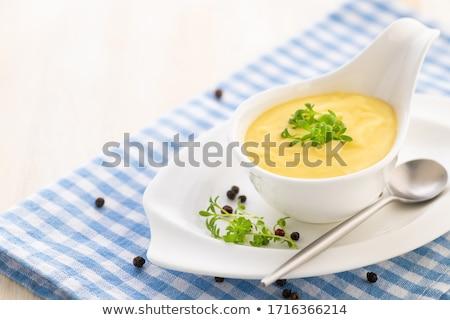 molho · básico · cozinha · francesa · servido · barco · terreno - foto stock © ildi