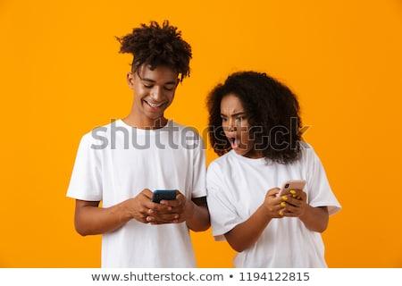 Jungen guy Telefon unzufrieden Freundin Stock foto © deandrobot
