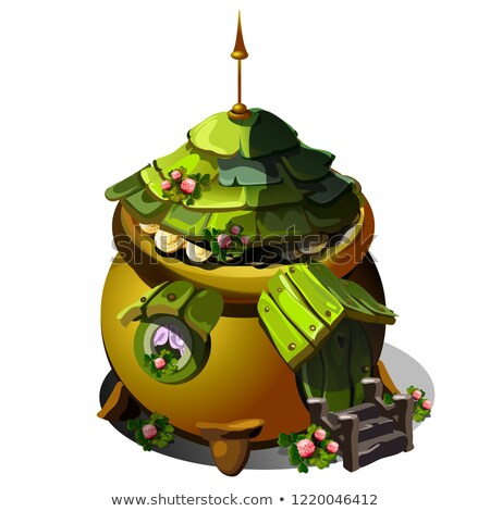 Fairy house with a roof of green wooden tiles isolated on white background. Vector cartoon close-up  Stock photo © Lady-Luck