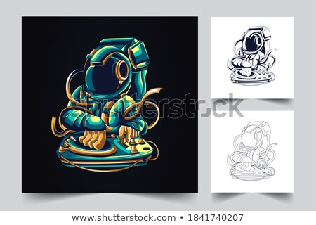 Karikatür öfkeli astronot şempanze bakıyor kask Stok fotoğraf © cthoman