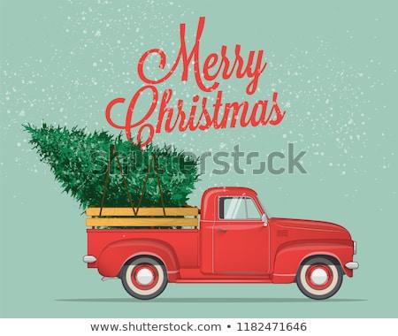 vector christmas red pickup stock photo © dashadima
