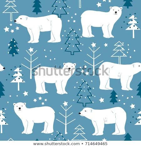 Karácsony végtelen minta sarki medvék fák ajándékok Stock fotó © balasoiu