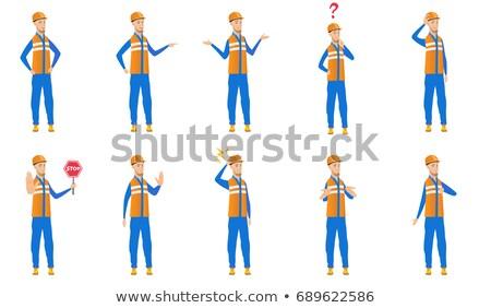 Confundirse Cartoon carretera trabajador ilustración mirando Foto stock © cthoman