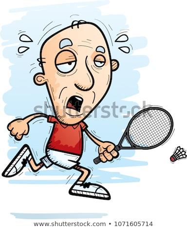 Kimerült rajz idős tollaslabda játékos illusztráció Stock fotó © cthoman