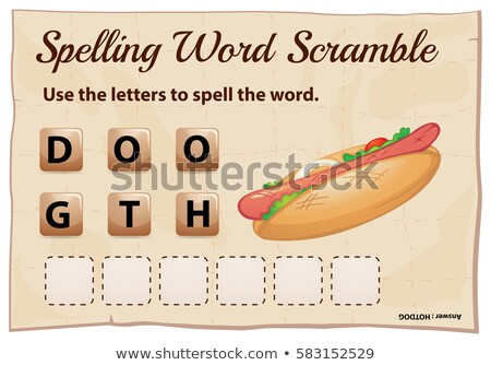 Spelling word scramble template for word hotdog Stock photo © colematt