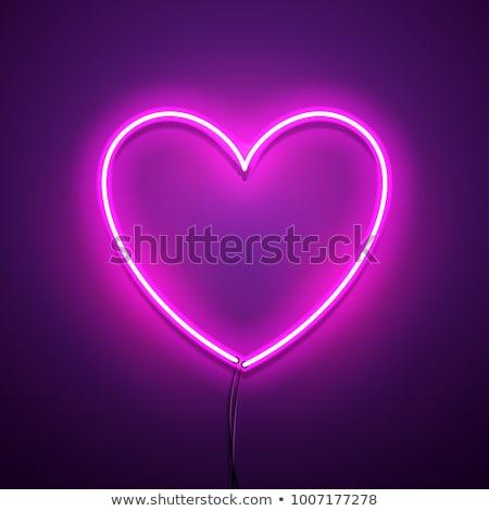 Szív neonreklám szeretet promóció buli boldog Stock fotó © Anna_leni