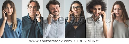 fiatal · afroamerikai · üzletasszony · mobiltelefon · portré · iroda - stock fotó © diego_cervo