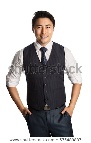 potrait of relaxed man wearing blue waistcoat and suit Stock photo © feedough