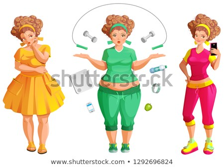 Fat woman weignt loss. Fitness and diet is path to health and beauty Stock photo © orensila