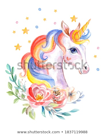 Stock photo: Watercolor portrait of a white unicorn with a flowers